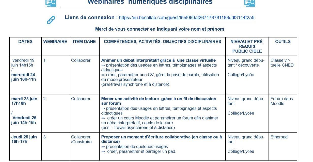 Agenda des webinaires numériques disciplinaires