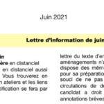 LETTRE D'INFORMATION  JUIN 2021