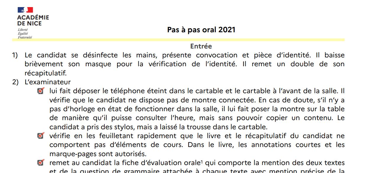 Pas à pas oral 2021