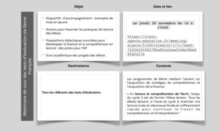 Visioconférence sur le suivi des tests de français