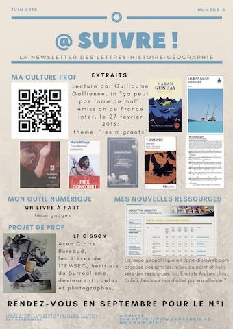 La Newsletter des Lettres-Histoire-Géographie de l'Académie de Nice
