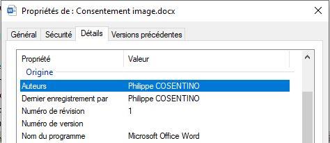 """Capture d'écran des """"propriétés"""" d'un fichier créé par Word"""